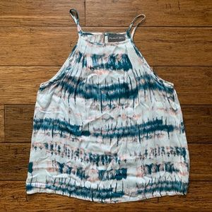 Tie Dye Pink and Teal Sleeveless Top